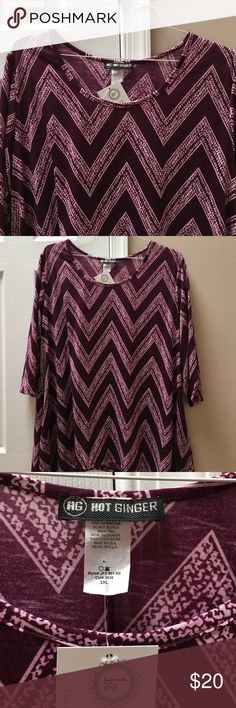 Hot Ginger chevron 3/4 sleeve top NWT chevron Maroon and pink top. Nice soft light material. Tops Tees - Long Sleeve