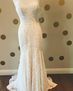 Another one of our new arrivals! This @watterswtoo gown has the intricate lace detail you've been dreaming of with out being just like every other strapless lace gown! #wtoo #watters #bride #bridal #weddinggown #newarrivals #loveandlace #wedding #weddinginspo
