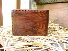 Mens Leather Wallet Handmade In Wood Grain by ShoalCreekLeather, $85.00
