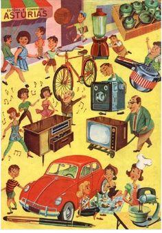 album de figurinhas - ASTURIA - novidades de 1968 - carros - aparelhos de televisão - eletrolas - batedeiras