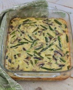 Low carb crustless asparagus and mushroom quiche. Gluten Free. Perfect for brunch or breakfast.