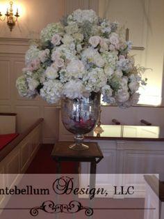 Blush wedding flowers on silver merucry urn for wedding ceremony, Dallas wedding flowers by AntebellumDesign.com