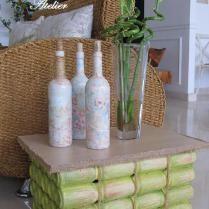Mesa 100% sustentável! Reaproveitamento de madeira + base de falso bambu feita de latihas
