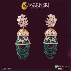 Unique inclination Earrings Collections by Swarnsri Gold & Diamonds, For any queries please WhatsApp ☎️ 0866 - Indian Wedding Jewelry, Indian Jewelry, Bridal Jewelry, Diamond Earrings Indian, Gold Earrings, Diamond Necklaces, Bead Jewellery, Beaded Jewelry, Gold Jewelry Simple