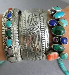 Stacked sterling silver & multi stone Southwestern Native American bracelets