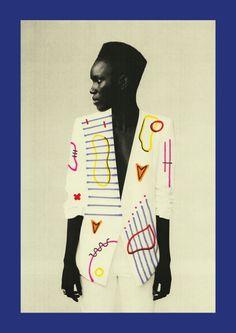 Woman wearing art.