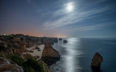 Übernachtung, Mond, Meer, Strand, Rocks, Stern
