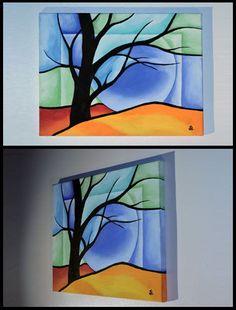 Original Painting Landscape Expressionism Northern lights Artist J Lettington #Expressionism #Bright #Landscape #Tree #Painting #Original #Art #Colorful #JeremyLettington #ArtistLettington Copyright, Please do not copy.
