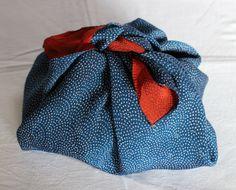 Silk Furoshiki, Japanese Chirimen Silk Furoshiki, Vintage Wrapping Cloth, Traditional Wave Pattern, Blue, Oriental Red and White, Free Ship* by KominkaFabricsJapan on Etsy