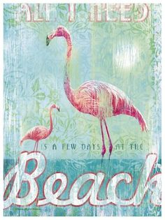 Vintage Flamingo at the Beach 8x10 Fabric Block - Great for Quilting, Pillows & Wall Art - Buy 2, Ge