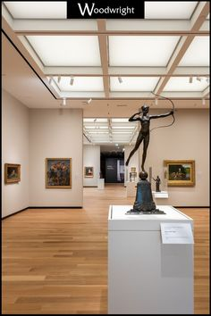Woodwright worked with Schwaltz Silver in 2019 to design a custom colored Engineered Rift White Oak floor for the Amon Carter Museum of American Art. #commericalflooring #highquality #highend #custom #museumflooring White Oak Floors, Portfolio Images, Amon, American Art, Track Lighting, Museum, Ceiling Lights, Flooring, Silver