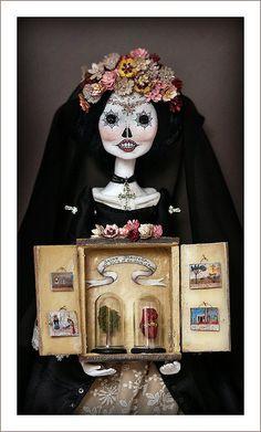 """La Calavera Catrina Art Doll & Shrine"" Image © Christine Alvarado, 2011. #calavera #catrina #shrine"