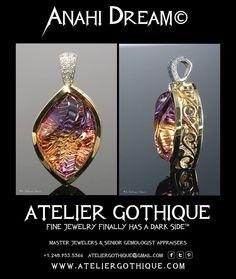 Anahi Dream© Fine Custom Jewelry Gothic Alternative Engagement Bridal Wedding Fashion Gold Ametrine