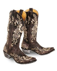 "Lovely handmade Old Gringo Ultra Vintage boots ""Lucky"" in Chocolate:  Destructed chocolate leather with mute gold lucky horseshoe embroidery & Swarovski crystals"