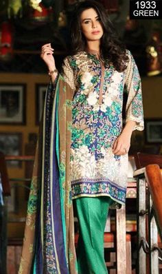 ab2535dc99 WYFD-1933 GREEN- Embroidery Designer 3PC Lawn Suit With Chiffon Dupatta -  SUMMER COLLECTION 2017 / 2018