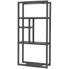 Palecek Adonai Etagere ($2,857) ❤ liked on Polyvore featuring home, furniture, storage & shelves, grey furniture, shelves furniture, shelf furniture, gray shelves and shelving furniture