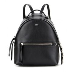 Fendi Embellished Leather Backpack (2,770 CAD) ❤ liked on Polyvore featuring bags, backpacks, black, black backpack, black leather bag, leather knapsack, leather rucksack and leather bags