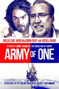 Army of One Movie Poster - Nicolas Cage, Wendi McLendon-Covey, Russell Brand  #ArmyOfOne, #NicolasCage, #WendiMcLendon, #Covey, #RussellBrand, #LarryCharles, #Comedy, #Art, #Film, #Movie, #Poster