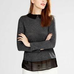 Tee-shirt chiné bi-matière col claudine                                                                                          gris chiné foncé Femme