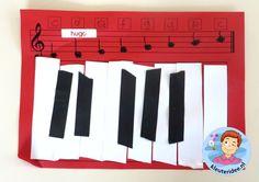 Knutselen met kleuters, toetsenbord met bijbehorende noten en notennamen 2, thema muziek, kleuteridee.nl.