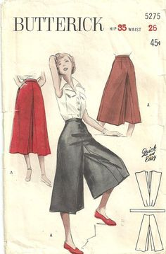 Vintage 50s Sewing Pattern Butterick 5275 Gaucho Culotte Split Skirt