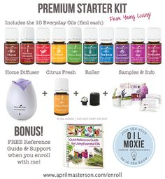 Young Living essential oils! Upgrade your health with the Young Living Premium Starter Kit!! Get 11 oils, a home diffuser, FREE reference guide and membership to Oil Moxie! To Learn More-->http://www.aprilmasterson.com/order-oils/
