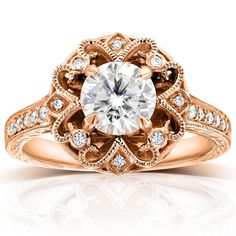 Annello by Kobelli 14k Gold 1 1/5ct TGW Forever One DEF Moissanite and Diamond Antique Extravagant Engagement Ring