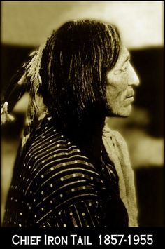 "Years after Wounded Knee, Iron Tail, an Oglala Sioux, was invited to Washington, D.C. by General Nelson Miles. While in Washington, D.C. Iron Tail was chosen with two other Indians, Two Moons, a Cheyenne and Big Tree, a Kiowa as models by James E. Fraser to create the Indian head profile on the Buffalo Nickel used from 1913-1938. On October 21, 1913 Iron Tail received a commendation certificate of ""good character"" from the U.S. Government."