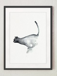 Grumpy Cat Lover Gift Abstract Cat Watercolor by ColorWatercolor