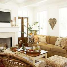 Get Hands-On with Casual Finishes:     This living room has a please touch, no fuss feel. It's comfortable for a young family or grandparents with visiting grandchildren. Hand-rubbed finishes on furnishings lend vintage appeal.