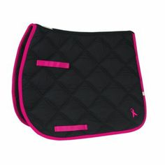 he Lettia All Purpose Black with Pink Ribbon Pad is a quilted, all-purpose black saddle pad that features a bright and vibrant pink outline with a single pink ribbon on it. This all purpose, quilted, cotton pad is shaped for wither relief and cushioned for your horse's comfort.
