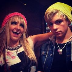 Ross & Rydel In Their Pink & Yellow Beanies