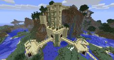 Castle on a Cliff in Minecraft.