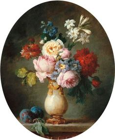 Anne Vallayer-Coster (Paris A vase of flowers and two plums on a marble tabletop. Probably exhibited at the Paris Salon of no. painting Anne Vallayer-Coster (Paris , A vase of flowers and two plums on a marble tabletop Rose Vase, Flower Vases, Flower Art, Classic Paintings, Contemporary Paintings, Victorian Paintings, Illustration Blume, Paul Cezanne, Decoupage Vintage