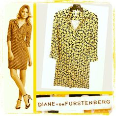 Diane von Furstenberg 425.00 yellow deco clover silk jersey polo dress sz. 2; RR Price: 175.00  http://resaleriches.mybisi.com/product/dvfpolodress
