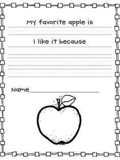 Apple opinion writing piece ~Freebie pages) Apple Activities, Writing Activities, Classroom Activities, Classroom Ideas, Adjectives Activities, Holiday Activities, 1st Grade Writing, Kindergarten Writing, Kindergarten Apples