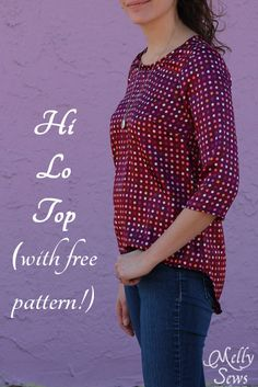 Sewing Top Hi Lo Top tutorial with free pattern by Melly Sews - High low shirt tutorial with free pattern. Create your own DIY hi lo hem shirt using your sewing skills. Sewing Patterns Free, Free Sewing, Clothing Patterns, Free Pattern, Top Pattern, Basic Sewing, Blouse Patterns, Diy Clothing, Sewing Clothes