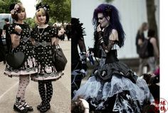 Gothic Lolita girls at Leipzig, German WGT. punk and deathrock hair