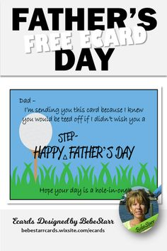 Don't be teed off - I didn't forget about you on Father's Day! Send a special ecard to your step-father. They are free to send and fun to receive. | Ecard | Father's Day | Step-Father | bebestarrcards.wixsite.com/ecards Fathers Day Ecards, Happy Fathers Day, My Father, Hole In One, Knowing You, Forget, Dads, Humor, Fun
