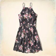 Hollister Strappy Floral Skater Dress