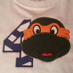 Orange Turtle Birthday Applique Shirt With Name Number Red Blue Purple Orange by fabuellaboutique. Explore more products on http://fabuellaboutique.etsy.com