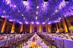 Purple dramatic floating floral arrangements