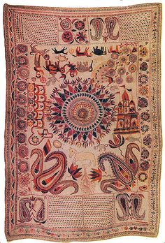 """Sujni Kantha C. 19th Century A.D. Size: 5'9"""" X 4'1/2"""" Jessore (Undivided Bengal) (Sujni Kanthas are big kanthas used as bedspreads)"""