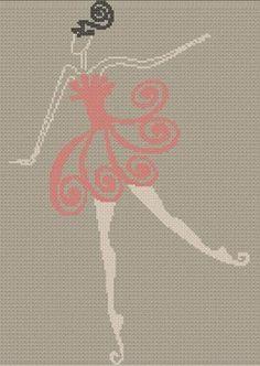 point de croix moderne danseuse de ballet - modern cross stitch ballet dancer