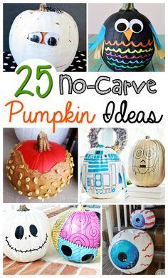 25 No-Carve Pumpkin Ideas Pumpkin Decorating Contest, Pumpkin Contest, Decorating Pumpkins Without Carving, Diy Halloween Decorations, Halloween Crafts, Holiday Crafts, Pumpkin Crafts, Pumpkin Ideas, Pumkin Carving