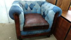 Jeans Patchwork Sessel 1-Sitzer Chesterfield Design Polster xxl Big Armchair Patchwork Chair, Patchwork Jeans, Chesterfield Chair, Armchair, Lounge, Tub Chair, Accent Chairs, Furniture, Home Decor