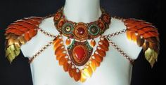 Scale maille and bead embroidered necklace 1 by Priscillascreations