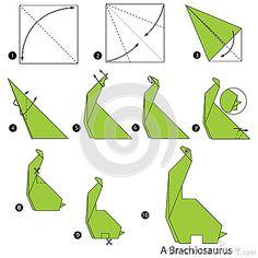 Instrucciones paso a paso cómo hacer el dinosaurio de la papiroflexia A