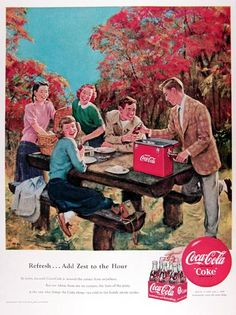 1950 Coca Cola Picnic vintage ad. Refresh, add zest to the hour. In town, ice cold Coca Cola is around the corner from anywhere. But out where there are no corners, the hero of the party is the one who brings the Coke along - ice cold in the handy picnic cooler. Delicious and refreshing.