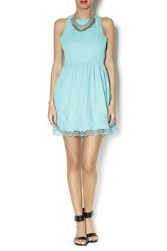 Turquoise dress with detailed bottom
